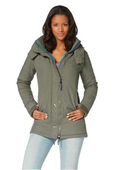 kangaroos damen langjacke gr 36 khaki t rkis outdoorjacke. Black Bedroom Furniture Sets. Home Design Ideas